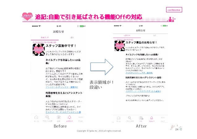 Copyright  ©  Spika  Inc.  2015  all  rights  reserved. confiden'al 24 追記:自動で引き延ばされる機能Offの対応 Before After ...