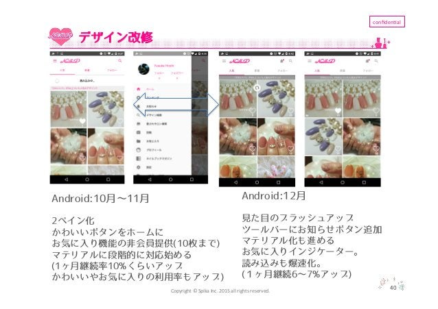 Copyright  ©  Spika  Inc.  2015  all  rights  reserved. confiden'al 40 デザイン改修 Android:10月∼11月 2ペイン化 かわいいボタ...