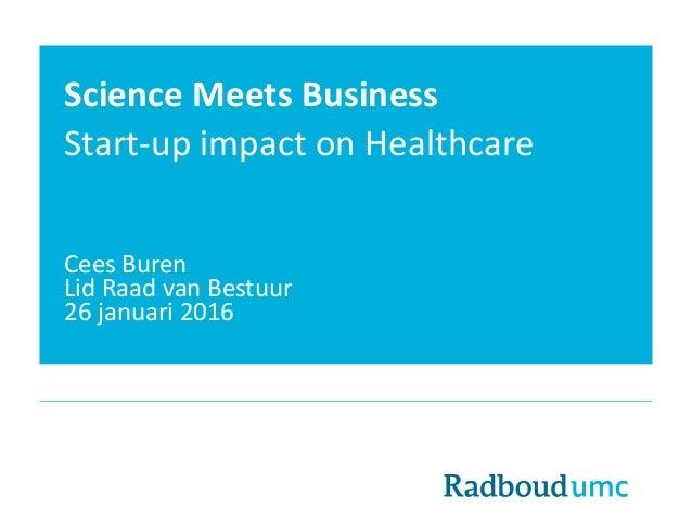 Science Meets Business Start-up impact on Healthcare Cees Buren Lid Raad van Bestuur 26 januari 2016