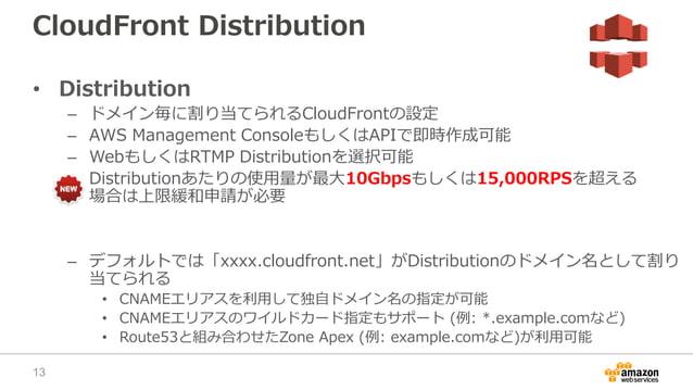 CloudFront Distribution • Distribution – ドメイン毎に割り当てられるCloudFrontの設定 – AWS Management ConsoleもしくはAPIで即時作成可能 – WebもしくはRTMP D...