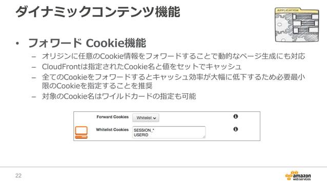 ダイナミックコンテンツ機能 • フォワード Cookie機能 – オリジンに任意のCookie情報をフォワードすることで動的なページ生成にも対応 – CloudFrontは指定されたCookie名と値をセットでキャッシュ – 全てのCookie...