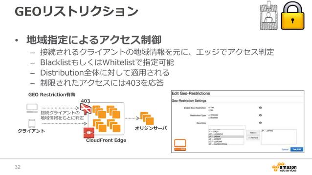 GEOリストリクション • 地域指定によるアクセス制御 – 接続されるクライアントの地域情報を元に、エッジでアクセス判定 – BlacklistもしくはWhitelistで指定可能 – Distribution全体に対して適用される – 制限さ...