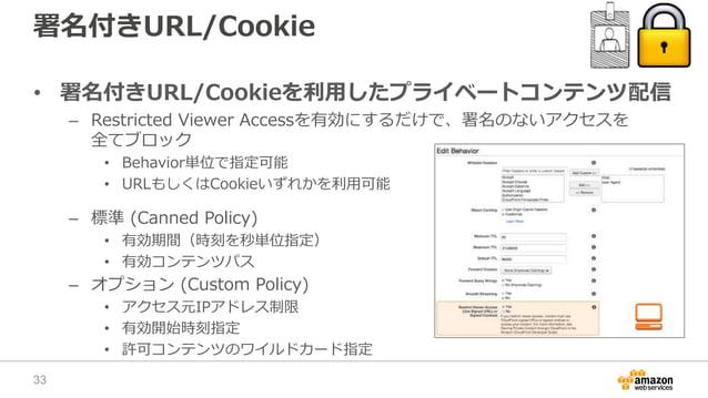 署名付きURL/Cookie • 署名付きURL/Cookieを利用したプライベートコンテンツ配信 – Restricted Viewer Accessを有効にするだけで、署名のないアクセスを 全てブロック • Behavior単位で指定可能 ...