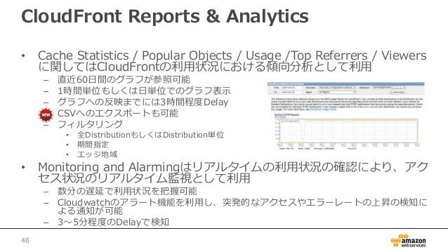 CloudFront Reports & Analytics • Cache Statistics / Popular Objects / Usage /Top Referrers / Viewers に関してはCloudFrontの利用状況に...