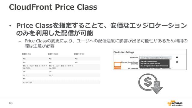 CloudFront Price Class • Price Classを指定することで、安価なエッジロケーション のみを利用した配信が可能 – Price Classの変更により、ユーザへの配信速度に影響が出る可能性があるため利用の 際は注意...