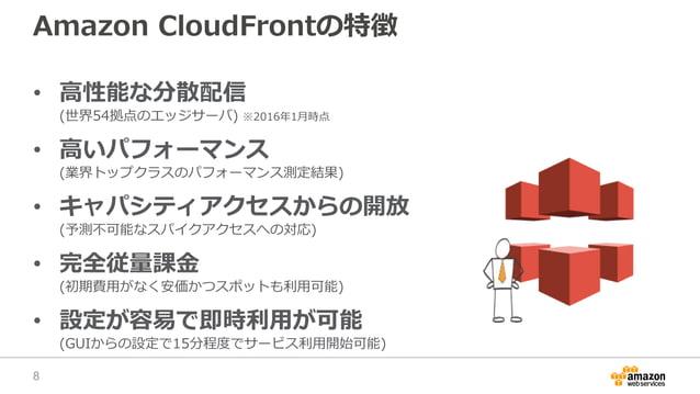 Amazon CloudFrontの特徴 • 高性能な分散配信 (世界54拠点のエッジサーバ) ※2016年1月時点 • 高いパフォーマンス (業界トップクラスのパフォーマンス測定結果) • キャパシティアクセスからの開放 (予測不可能なスパイ...
