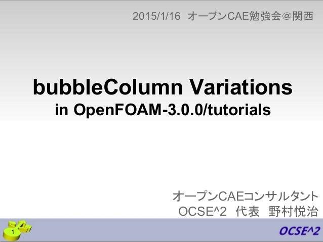 オープンCAEコンサルタント OCSE^2 代表 野村悦治 2015/1/16 オープンCAE勉強会@関西   1 bubbleColumn Variations in OpenFOAM-3.0.0/tutorials