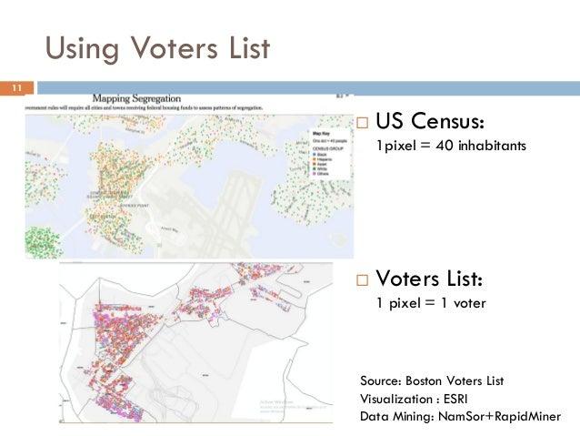 Using Voters List  US Census: 1pixel = 40 inhabitants  Voters List: 1 pixel = 1 voter 11 Source: Boston Voters List Visu...