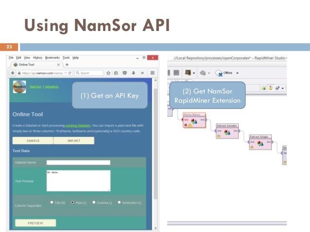Using NamSor API 23 (1) Get an API Key (2) Get NamSor RapidMiner Extension