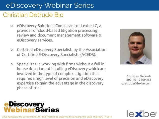 a litigator s guide to cloud based ediscovery and document review