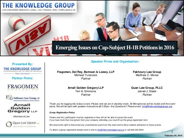 Emerging Issues on Cap-Subject H-1B Petitions in 2016 LIVE