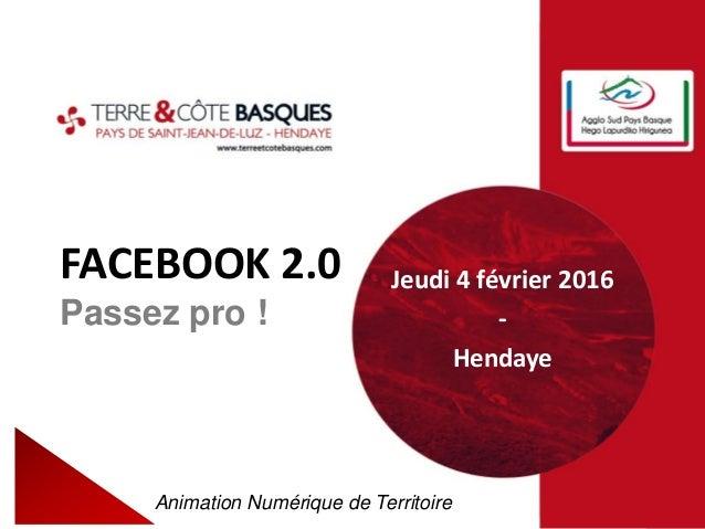 FACEBOOK 2.0 Passez pro ! Animation Numérique de Territoire Jeudi 4 février 2016 - Hendaye
