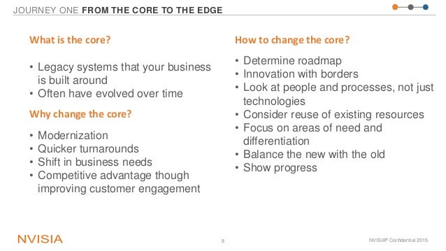 JOURNEY ONE FROM THE CORE TO THE EDGE NVISIA® Confidential 20158 What is the core? • Legacy systems that your business is ...