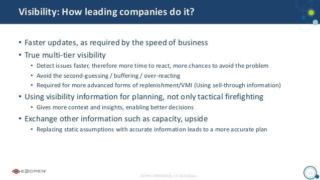 E2OPEN CONFIDENTIAL | © 2016 E2open 11 Visibility: How leading companies do it? • Faster updates, as required by the speed...