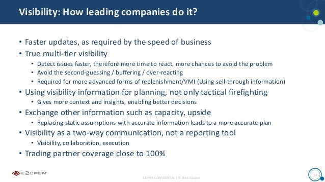 E2OPEN CONFIDENTIAL | © 2016 E2open 14 Visibility: How leading companies do it? • Faster updates, as required by the speed...