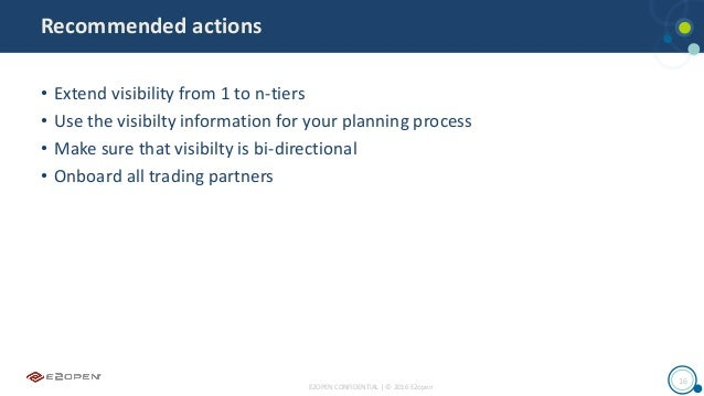 E2OPEN CONFIDENTIAL | © 2016 E2open 16 Recommended actions • Extend visibility from 1 to n-tiers • Use the visibilty infor...