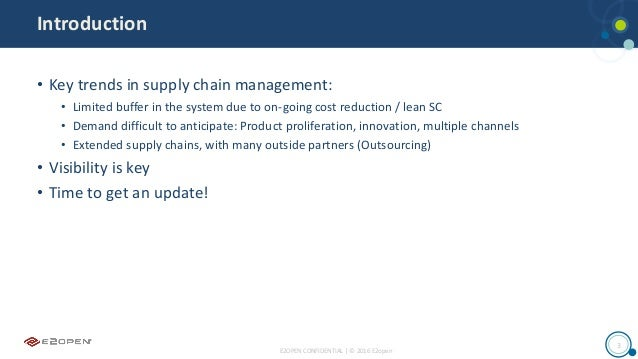E2OPEN CONFIDENTIAL | © 2016 E2open 3 Introduction • Key trends in supply chain management: • Limited buffer in the system...