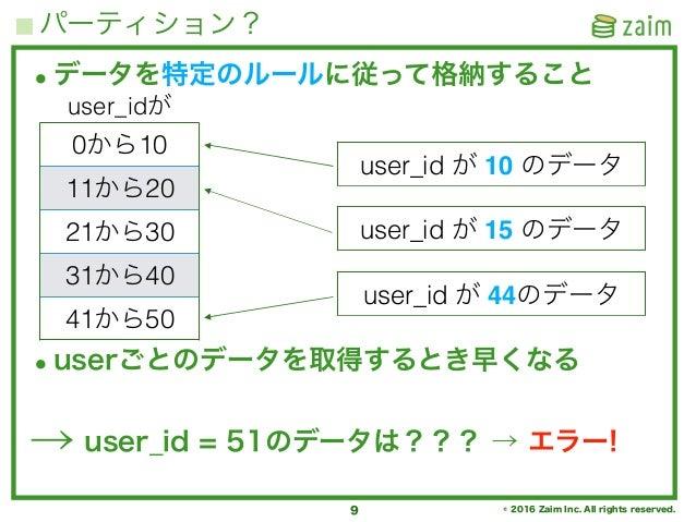 © 2016 Zaim Inc. All rights reserved. パーティション? 9 •データを特定のルールに従って格納すること •userごとのデータを取得するとき早くなる → user_id = 51のデータは??? → エラー...