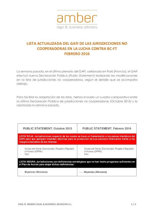 2016 © AMBER LEGAL & BUSINESS ADVISORS S.L. 1 / 2 LISTA ACTUALIZADA DEL GAFI DE LAS JURISDICCIONES NO COOPERADORAS EN LA L...