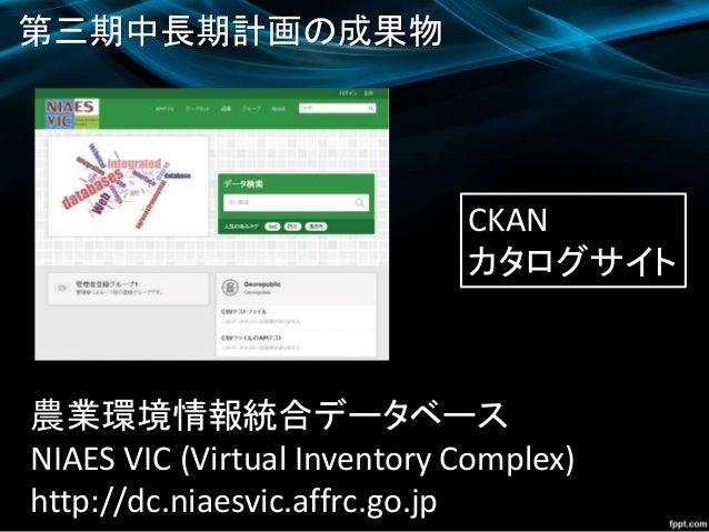 農業環境情報統合データベース NIAES VIC (Virtual Inventory Complex) http://dc.niaesvic.affrc.go.jp 第三期中長期計画の成果物 CKAN カタログサイト