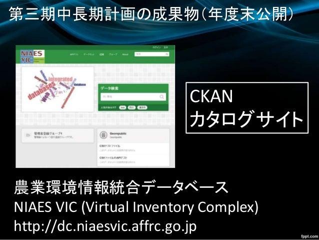 農業環境情報統合データベース NIAES VIC (Virtual Inventory Complex) http://dc.niaesvic.affrc.go.jp 第三期中長期計画の成果物(年度末公開) CKAN カタログサイト
