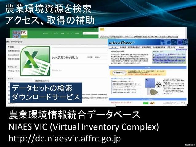 農業環境資源を検索 アクセス、取得の補助 農業環境情報統合データベース NIAES VIC (Virtual Inventory Complex) http://dc.niaesvic.affrc.go.jp Webシステムの検索 データセット...