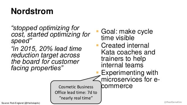 """@RealGeneKim Nordstrom """"stopped optimizing for cost, started optimizing for speed"""" """"in 2015, 20% lead time reduction targe..."""