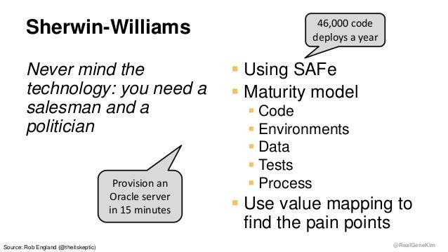 @RealGeneKim Sherwin-Williams Never mind the technology: you need a salesman and a politician  Using SAFe  Maturity mode...