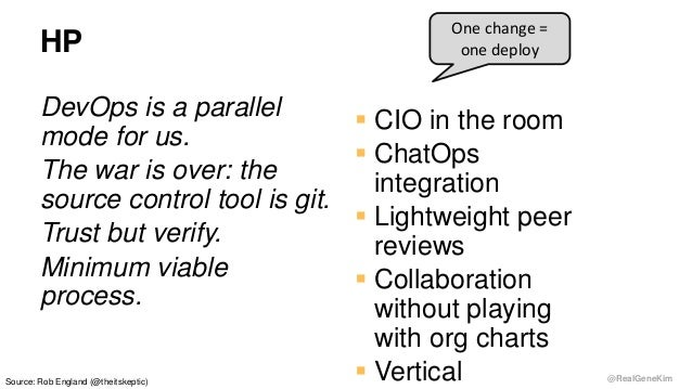 @RealGeneKim HP DevOps is a parallel mode for us. The war is over: the source control tool is git. Trust but verify. Minim...
