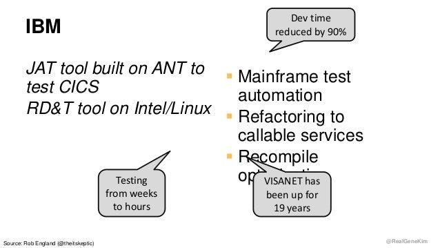 @RealGeneKim IBM JAT tool built on ANT to test CICS RD&T tool on Intel/Linux  Mainframe test automation  Refactoring to ...