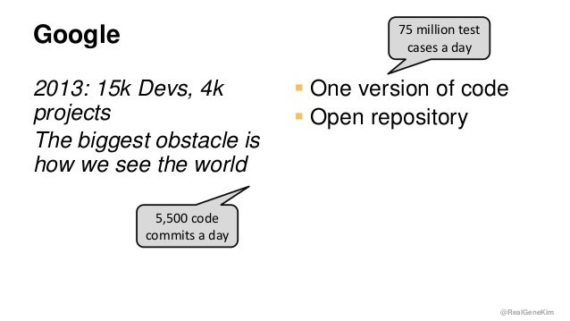 @RealGeneKim Google 2013: 15k Devs, 4k projects The biggest obstacle is how we see the world  One version of code  Open ...