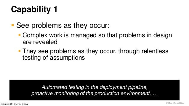 @RealGeneKim Capability 1  See problems as they occur:  Complex work is managed so that problems in design are revealed ...