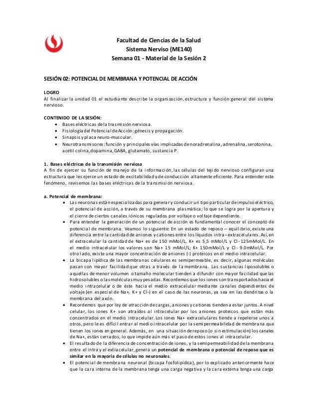 Facultad de Ciencias de la Salud Sistema Nerviso (ME140) Semana 01 - Material de la Sesión 2 SESIÓN 02: POTENCIAL DE MEMBR...