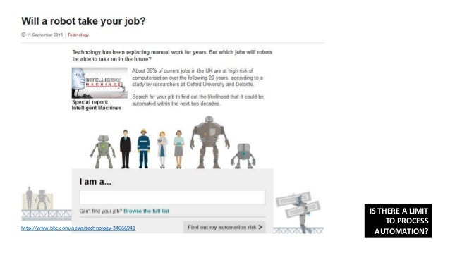 http://www.bbc.com/news/technology-34066941 IS THERE A LIMIT TO PROCESS AUTOMATION?