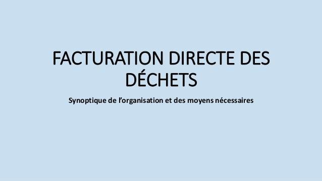 FACTURATION DIRECTE DES DÉCHETS Synoptique de l'organisation et des moyens nécessaires