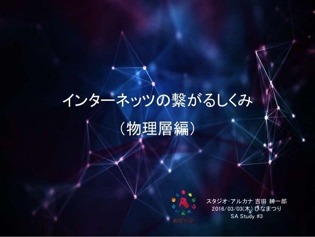 インターネッツの繋がるしくみ (物理層編) スタジオ・アルカナ 吉田 紳一郎 2016/03/03(木) ひなまつり SA Study #3