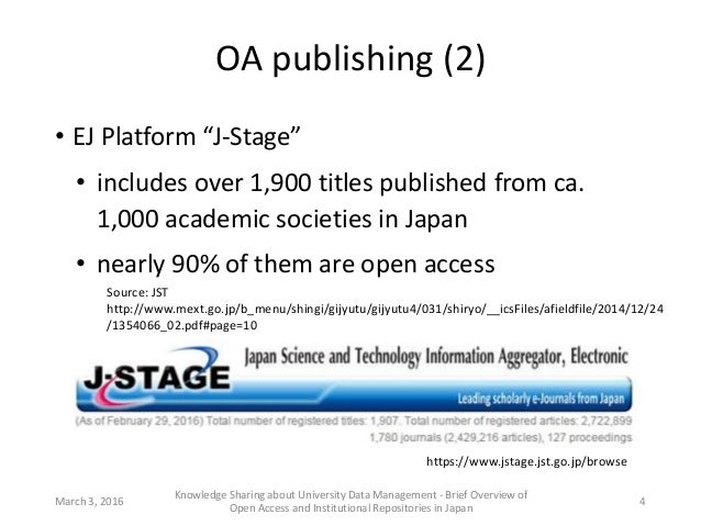 """OA publishing (2) • EJ Platform """"J-Stage"""" • includes over 1,900 titles published from ca. 1,000 academic societies in Japa..."""