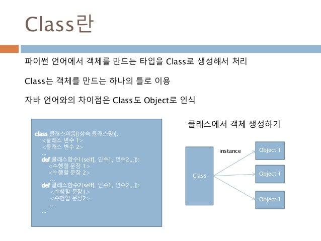 Class란 파이썬 언어에서 객체를 만드는 타입을 Class로 생성해서 처리 Class는 객체를 만드는 하나의 틀로 이용 자바 언어와의 차이점은 Class도 Object로 인식 Class Object 1 Object 1...
