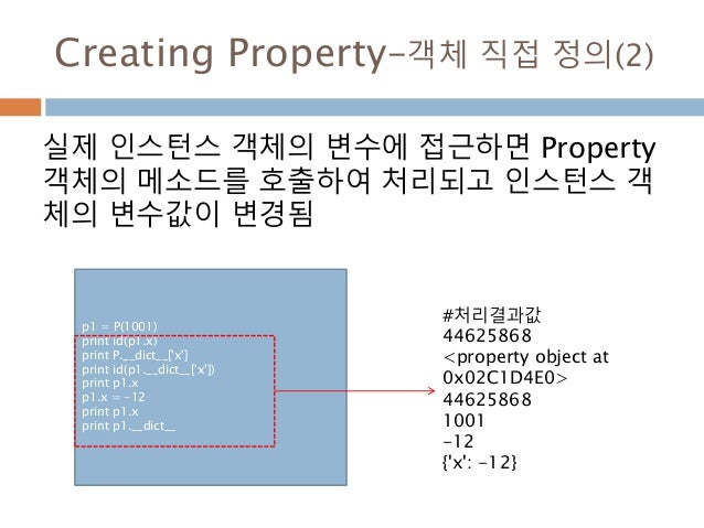 Creating Property–객체 직접 정의(2) 실제 인스턴스 객체의 변수에 접근하면 Property 객체의 메소드를 호출하여 처리되고 인스턴스 객 체의 변수값이 변경됨 p1 = P(1001) print id(p1...