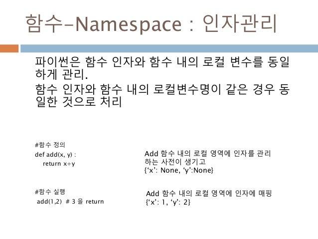 함수-Namespace : 인자관리 파이썬은 함수 인자와 함수 내의 로컬 변수를 동일 하게 관리. 함수 인자와 함수 내의 로컬변수명이 같은 경우 동 일한 것으로 처리 #함수 정의 def add(x, y) : return...