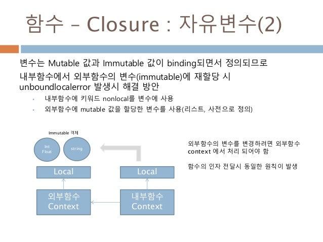 함수 – Closure : 자유변수(2) 변수는 Mutable 값과 Immutable 값이 binding되면서 정의되므로 내부함수에서 외부함수의 변수(immutable)에 재할당 시 unboundlocalerror 발생...