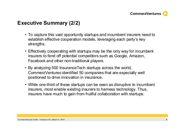 4CommerzVentures GmbH  Frankfurt a.M.   March 07, 2016 CommerzVentures Executive Summary (2/2) • To capture this vast op...
