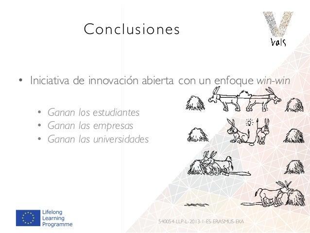 Conclusiones • Iniciativa de innovación abierta con un enfoque win-win • Ganan los estudiantes • Ganan las empresas • Gana...
