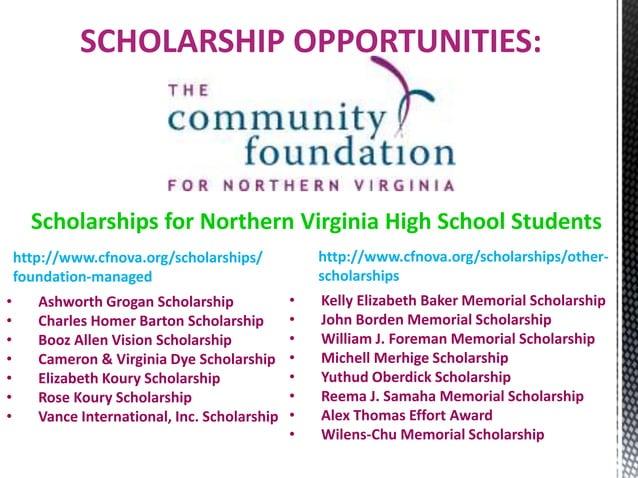 http://www.cfnova.org/scholarships/ foundation-managed SCHOLARSHIP OPPORTUNITIES: Scholarships for Northern Virginia High ...
