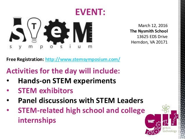 Free Registration: http://www.stemsymposium.com/ Activities for the day will include: • Hands-on STEM experiments • STEM e...