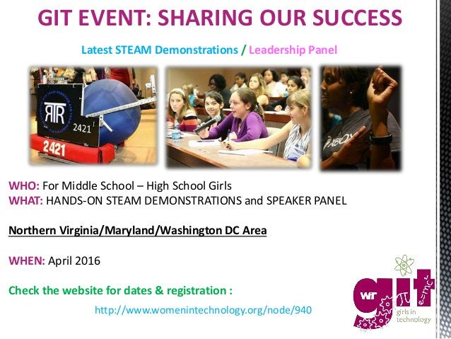 WHO: For Middle School – High School Girls WHAT: HANDS-ON STEAM DEMONSTRATIONS and SPEAKER PANEL Northern Virginia/Marylan...