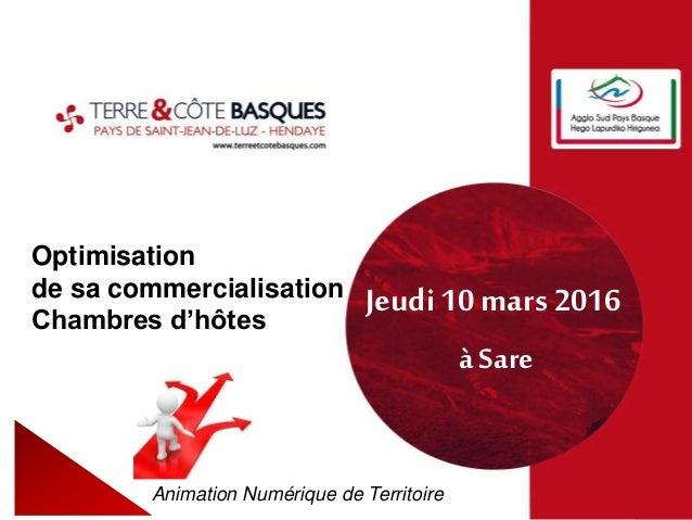 Optimisation de sa commercialisation Chambres d'hôtes Animation Numérique de Territoire Jeudi 10 mars 2016 à Sare