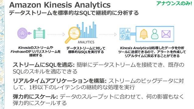 Amazon Kinesis Analytics データストリームを標準的なSQLで継続的に分析する ストリームにSQLを適応: 簡単にデータストリームを接続でき、既存の SQLのスキルを適応できる リアルタイムアプリケーションを構築: ストリ...