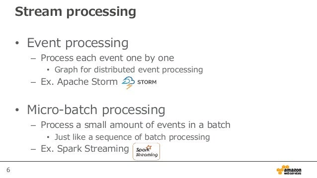 6 Stream processing • Event processing – Process each event one by one • Graph for distributed event processing – Ex. Apac...