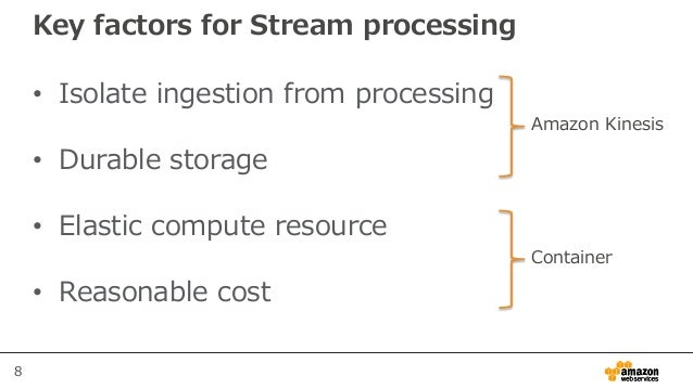 8 Key factors for Stream processing • Isolate ingestion from processing • Durable storage • Elastic compute resource • Rea...